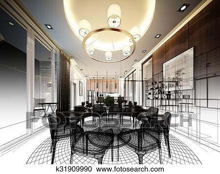 Abstract Sketch Design Of Interior Clipart K31909990 Fotosearch