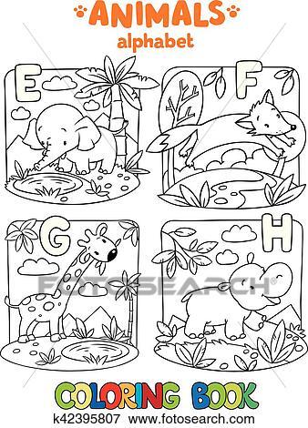 Clip Art - animales, alfabeto, o, abc., libro colorear k42395807 ...