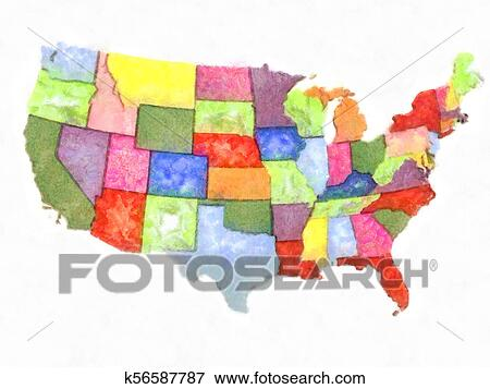 Artistic abstract watercolor political map United States of ...