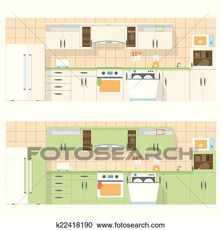 Clipart - cucina, trascurare, il, fronte, in, uno, appartamento ...