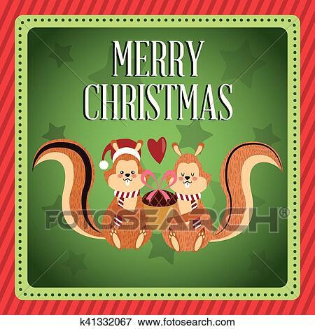 Clip Art - eichhörnchen, karikatur, von, christmas würzen, design ...