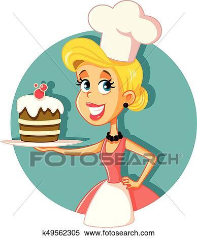 Clipart Femme Chef Pâtisserie Cuisson A Gâteau Vecteur