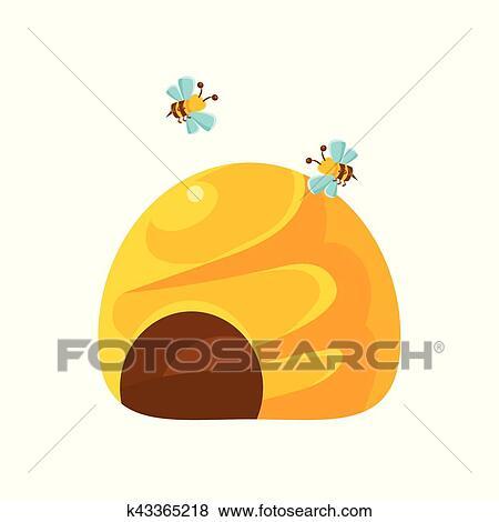 suelo amarillo colmena y abejas natural miel produccin relacionado cartn illustration primitivo vector dibujo con apicultura asociado