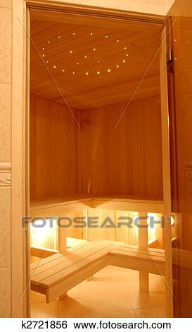 Klein, gemuetlicher, modernes, sauna, licht, holz, nicely, beleuchtetes  Stock Fotograf