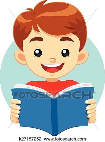 clipart menino lendo um livro k27157252 busca de ilustrações