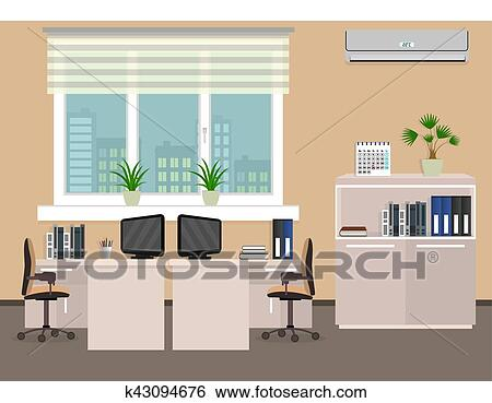 Clip Art of Office room interior including two work spaces with ...