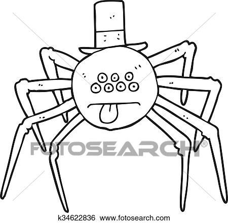 Clip Art - schwarz weiß, karikatur, halloween, spinne, in, oberster ...