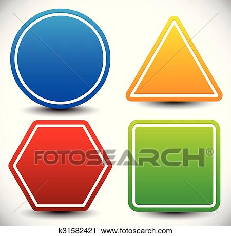 Clipart Of Set Blank Shapes Circle Triangle Octagon And Square