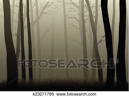 暗い 森 クリップアート切り張りイラスト絵画集 K23271795