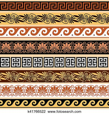 Clip Art Of Ancient Greek Pattern Seamless Set Of Antique Borders Interesting Greek Vase Patterns