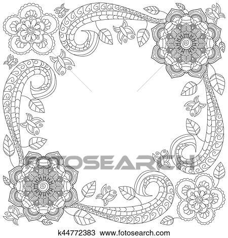 Clipart Blume Rahmen Ausmalbilder Vektor Abbildung K44772383