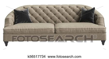 Classic Tufted Sofa Ivory Color With 2 Grey Pillows Isolated On
