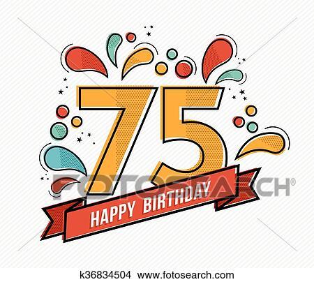 Auguri Di Buon 75 Compleanno.Colorito Buon Compleanno Numero 75 Linea Fissa Disegno Clipart