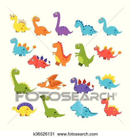 Image of: Baby Dinosaur Cute Cartoon Dinosaurs Set Of Isolated Colorful Flat Vector Illustrations On White Background In Childish Manner Fotosearch Clipart Of Cute Cartoon Dinosaurs Set K36526131 Search Clip Art