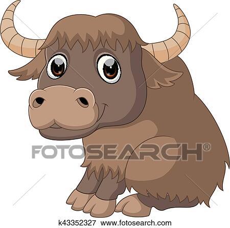 Clip Art Of Cute Yak Cartoon K43352327 Search Clipart