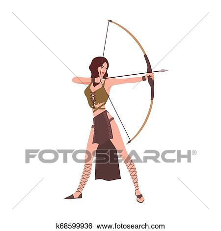 Diana Or Artemis Goddess Of Hunt From Roman Or Greek Mythology Isolated On White Background Brave Beautiful Woman Archer Holding Bow And Aiming Or
