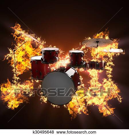 Drum set in fire Stock Illustration   k30495648   Fotosearch