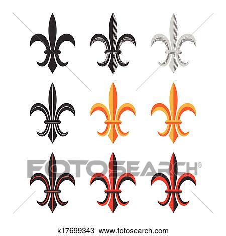 Clipart Fleur clipart of fleur de lis royal symbol set. vector k17699343 - search