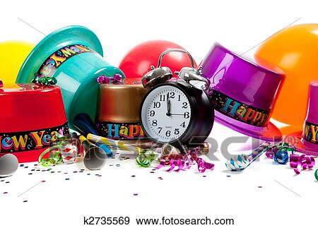 new years hats noise makers streamers balloons confetti and a black clock on a white background