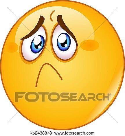 Clip Art Of Hurt And Sad Emoticon K52438878 Search Clipart