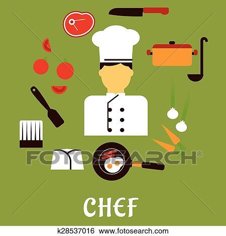 Clip Art - küchenchef, beruf, mit, kueche, füllen, heiligenbilder ...