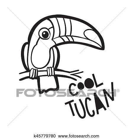 Libro Colorear Para Adults Pájaro Tucán En Caricatura Style