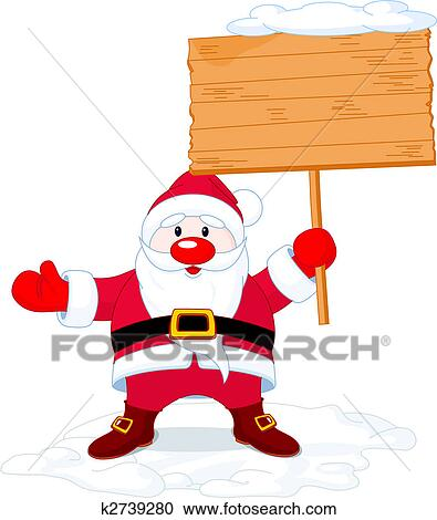 clipart of santa claus holding board sign k2739280 search clip art