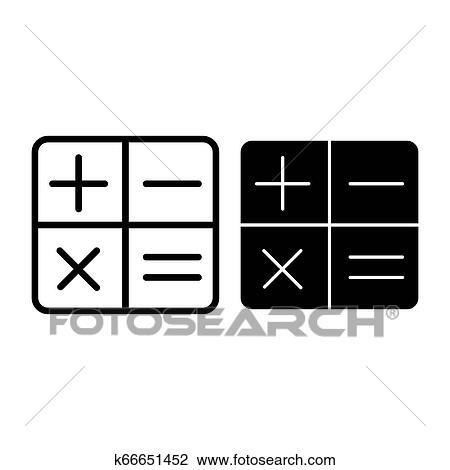 Taschenrechner Linie Und Glyph Icon Elektronisch Vektor