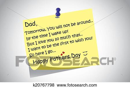 Stock illustration of unique happy fathers day post it note text stock illustration of unique happy fathers day post it note text greetings concept a touching and lovely fathers day wishes written by little son or m4hsunfo