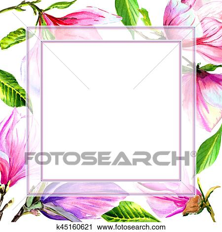 Clipart Of Wildflower Magnolia Flower Frame In A Watercolor Style
