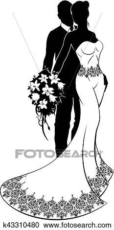 花嫁と花婿, 結婚式, シルエット クリップアート(切り張り)イラスト「絵画」集