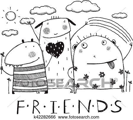 Clip Art - adorable, monstruos, amigos, contorno, negro y blanco ...