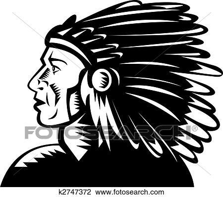 Americano Nativo Chefe Indio Com Headdress Desenho K2747372