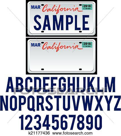 Clip Art Of California License Plate K21177436 Search
