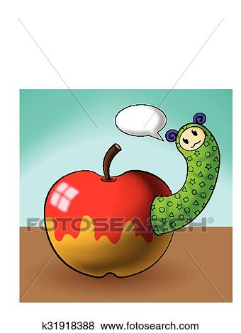Caterpillar Cartoons And Apple Clip Art K31918388 Fotosearch