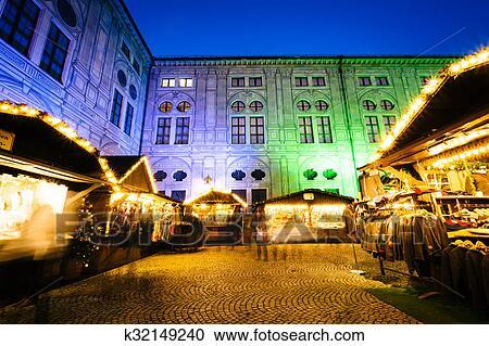 Munich Germany Christmas.Christmas Market At Night At The Munich Residenz In Munich Germany Stock Image