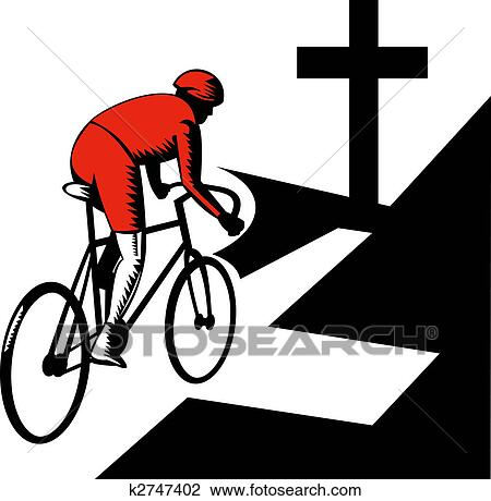 clip art of cyclist racing on bicycle with cross on road k2747402 rh fotosearch com cyclist clipart black and white cyclist clipart black and white