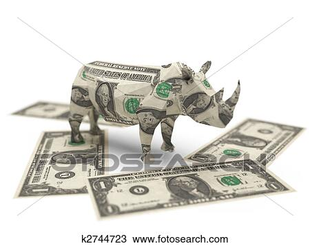 Drawing Of Dollar Origami Rhino K2744723 Search Clipart