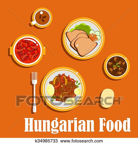Clipart Of Hungarian Lunch Dishes And Desserts K34985733