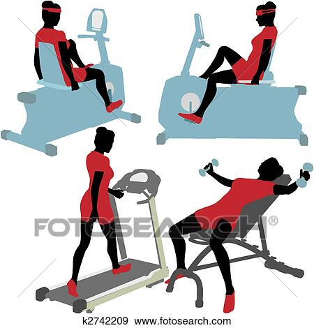 clip art of women on gym fitness exercise machines