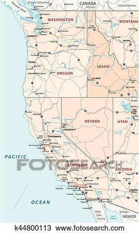 Map Of America Clipart.Roads Political And Administrative Map Of The Western United States Of America Clipart