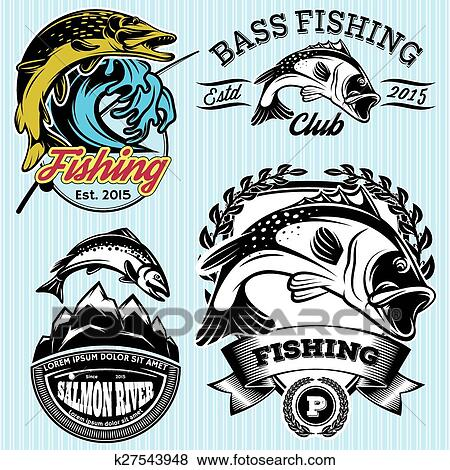 Set of patterns with emblems for fishing with pike, salmon, bass Clip Art