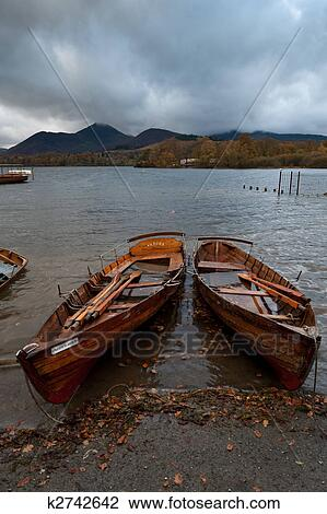 Wooden Rowing Boats On A Lake Stock Image K2742642 Fotosearch