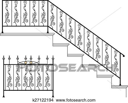 Clipart Of Wrought Iron Stair Railing Design K27122194 Search Clip