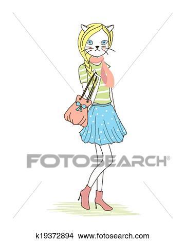 かわいい 人間の形をした ファッション 子ネコ クリップアート切り