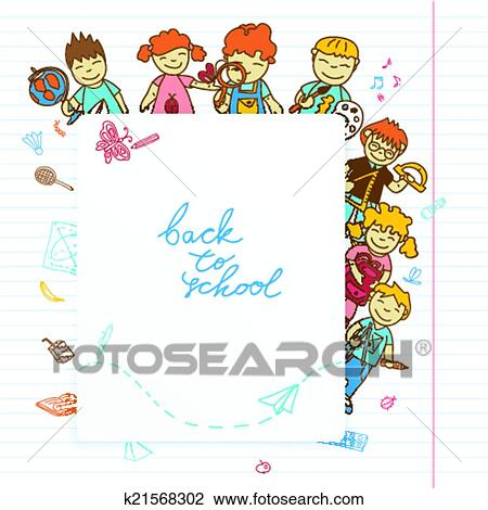 Clipart Of Background With Look Out The Banner Kids K21568302
