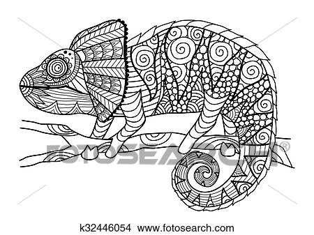 chameleon coloring book clipart   k32446054   fotosearch