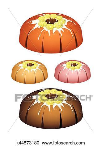 Clipart Of Four Lemon Bundt Cake With Sugar Glaze K44573180 Search