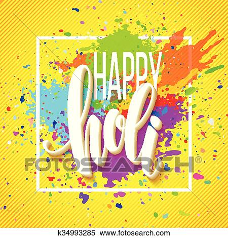 Clipart - glücklich, holi, fest, von, farben, gruß, hintergrund, mit ...