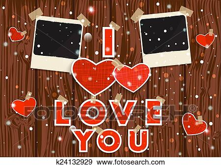 Clip Art Of Happy Valentine S Day Red Hearts Photo Frames And Text